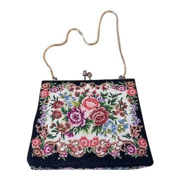 1930s Vintage Petit Point Tapestry Evening Bag