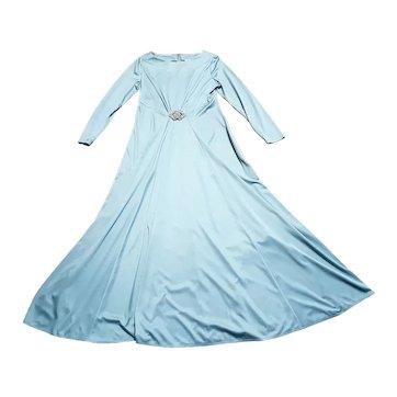 1970s Vintage Steel Blue Evening Maxi Dress UK Size 16