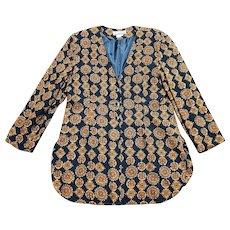 1980s Vintage Crest Print Longline Jacket UK Size 18