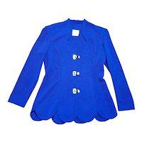 Original 1980s Vintage Joseph Ribkoff Blue Ribbed Jacket UK Size 12