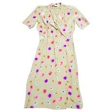1970s Vintage Christian Dior Silk Wrap Dress UK Size 10/12 Vintage Clothing