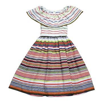 Original 1970s Designer Vintage Lanvin Striped Boho Gypsy Dress UK Size 10