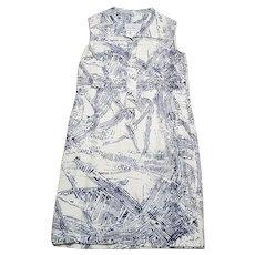 1970s Vintage Peter Barron Printed Silk Shift Dress UK Size 14