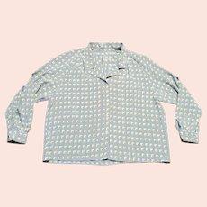 Original 1970s Vintage Silky Geometric Print Shirt UK Size 18/20