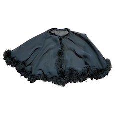Vintage 1950s Black Feather Boudoir Cape One Size