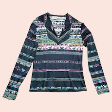 Original 1970s Vintage Betty Barclay Printed Shirt UK Size 12