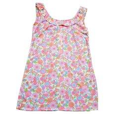 1960s Vintage Bright Floral Nylon Mini Dress UK Size 12