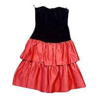 1980s Vintage Red & Black Ra Ra Party Dress UK Size 8