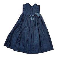 1980s Vintage Black Lace Prom/Party Dress UK Size 10