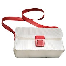 1960s Vintage Mid Century Plastic Box Shoulder Bag - Red, Vintage Handbags