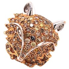 18K Rose Gold Colored Diamond Fox Ring
