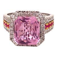 14K White Gold Pink Topaz Ruby Diamond Ring
