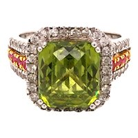 14K White Gold Peridot Ruby Diamond Ring