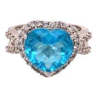 14K White Gold Heart Shape Blue Topaz Diamond Ring