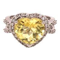 14K White Gold Heart Shape Citrine Diamond Ring