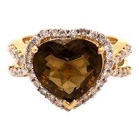 14K Yellow Gold Heart Shape Smoky Quartz Diamond Ring