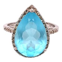 14K White Gold Pear Shape Blue Topaz Diamond Ring