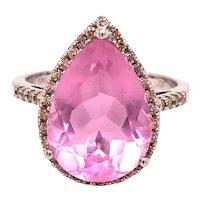 14K White Gold Pear Shape Pink Topaz Diamond Ring