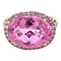 14K White Gold Oval-Cut Pink Topaz Diamond Ring