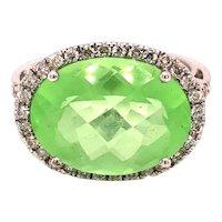 14K White Gold Oval-Cut Peridot Diamond Ring