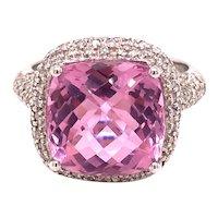 14K White Gold Cushion-Cut Pink Topaz Diamond Ring