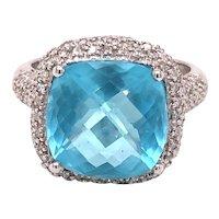 14K White Gold Cushion-Cut Blue Topaz Ring
