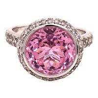 14K White Gold Round-Cut Pink Topaz Diamond Ring