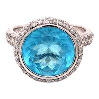 14K White Gold Round-Cut Blue Topaz Diamond Ring