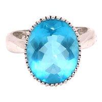 14K White Gold Oval-Cut Blue Topaz Ring