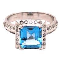 14K White Gold Princess-Cut Blue Topaz Diamond Ring