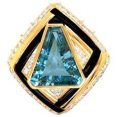 Vintage 14K Yellow Gold Blue Topaz Diamond Onyx Pendant