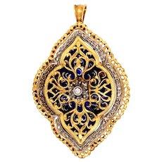 Vintage 18K Yellow & White Gold Enamel Rose-Cut Diamond Brooch Pendant