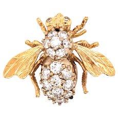 Vintage 14K Yellow Gold Diamond Bee Brooch