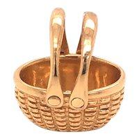 Vintage 14K Yellow Gold Mini Basket Charm