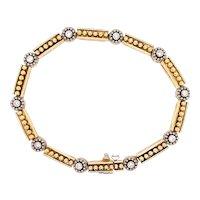 Vintage 14K Yellow Gold Diamond Floral Link Bracelet