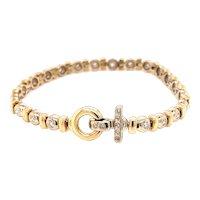 Vintage 14K Yellow Gold Diamond Hook Bracelet