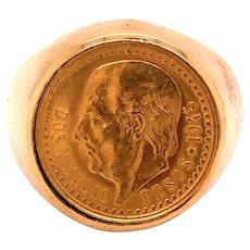 Vintage 14K Yellow Gold 1942 2.5 Peso Dos Y Medio Coin Ring