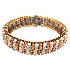 Vintage 18K Yellow & White Gold Diamond Bracelet