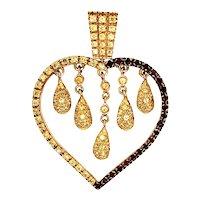 18K Gold Diamond Garnet Heart Drip Pendant