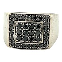 14K White Gold Black Diamond Pave Signet Ring