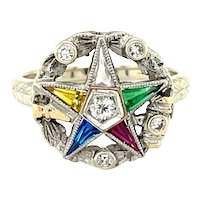 Platinum Multi color Gemstone Star Ring