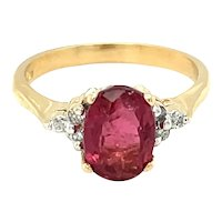 14K Yellow Gold Oval cut Ruby and Diamond Ring