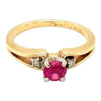 14K Yellow Gold Round cut Ruby and Diamond Ring