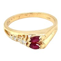 14K Yellow Gold Marquise cut Ruby and Diamond Band