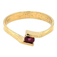 14K Yellow Gold Oval cut Ruby Ring