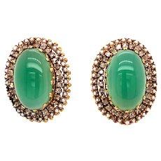 18K Gold Jade Diamond Seed Pearl Clip-on Earrings