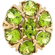 10K Yellow Gold Oval cut Peridot Floral Statement Ring
