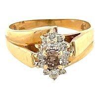 14K Yellow Gold Round cut Champagne and White Diamond Ring