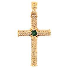 18K Diamond Emerald Cross Pendant
