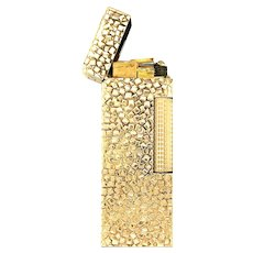 Dunhill Rollagas 14K Yellow Gold Hammered Nugget Solid Gold Lighter